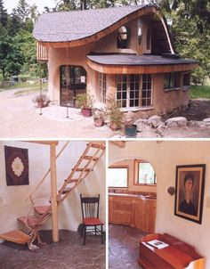 beautiful cob house--love the unusual sloping roof