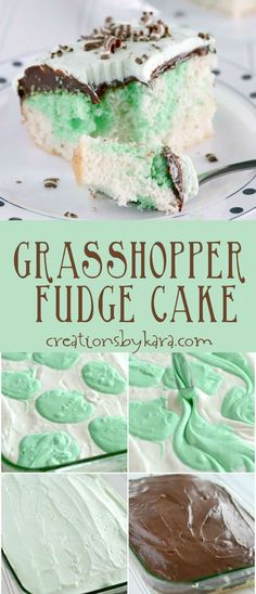 With a layer of fudge and creamy mint topping, this Grasshopper Cake is irresistible! #chocolatemint #cake via @creationsbykara.com