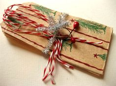 Holiday Gift Tags Package Toppers Set of 4 Handmade by emmylucy, $6.50
