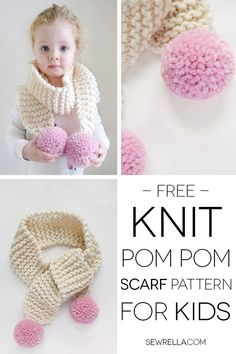Knit this cute kids pom pom scarf quick and easy for beginners with the free pattern and video tutorial!