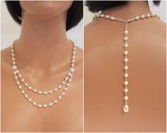 Bridal Pearl Backdrop Necklace, Wedding Back drop necklace, Wedding necklace…