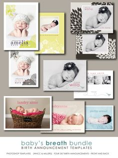 photographer templates photoshop birth announcement by westwillow