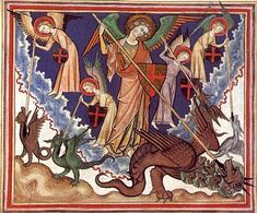 """""""War in Heaven""""  France, c. 1320  in The Cloisters Collection, New York City"""