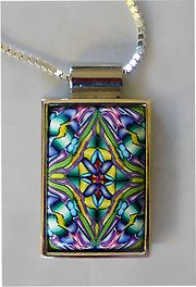 rectangle pendant by It's all about color, via Flickr.  Polymer clay by Carol Simmons.