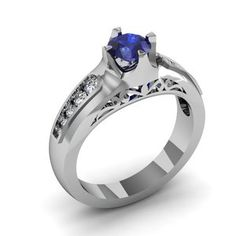 14 Kt White Gold Sapphire And Diamond Engagement Ring by Sossi  Bagham