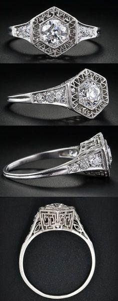 .51 carat early Art Deco diamond engagement ring from the late 'teens - early 1920s. The central stone is in a hexagonal setting enhanced with fine zig-zag platinum wire work. Each shoulder is adorned with three old-mine cut diamonds and the gallery exhibits a variant of a classic Greek key pattern. Via Diamonds in the Library.