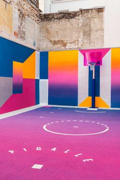 Technicolor Paris Duperré Basketball Court by Pigalle, Ill-Studio and Nike   Yellowtrace