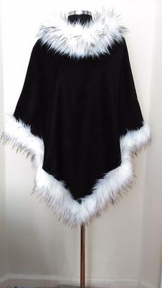 Winter Black Wool Pancho - Faux Fur Collar Cape - Outerwear in Faux Fur -HandmadebyNadya…