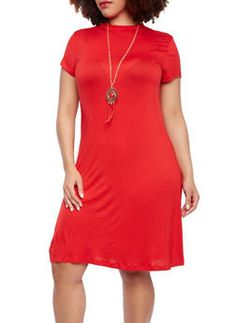 Plus Size Swing Dress With Removable Necklace,RED