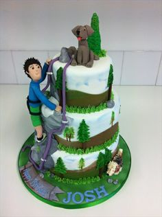 styled to rock cakes | rock climbing cake with models