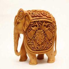 Cedar Wood Carving Elephant