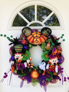 Mickey+and+Minnie+Mouse+Halloween+Wreath+by+SparkleForYourCastle,+$209.00