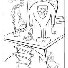 Monster Lab Coloring Page for Halloween