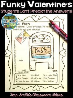 #Valentines This math resource includes: 10  No Prep Printables that can be used for your math center, small group, RTI pull out, seat work, substitute days or homework, answer keys included too! Our FUNKY SERIES - Students can't predict the answers and they love the colorful finished product they get to take home! #TpT #FernSmithsClassroomIdeas