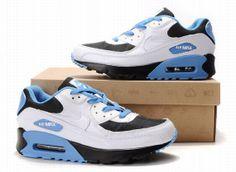best service 4a316 5eb00 Nike Air Max 90 Hommes Mode Chaussures Blanc Bleu Noir Air Max 90, Nike Air