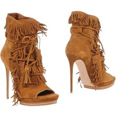 Casadei Ankle Boots ($615) ❤ liked on Polyvore featuring shoes, boots, ankle booties, brown, leather ankle boots, fringe open toe booties, open toe bootie, brown fringe booties and leather boots