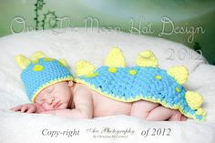 The Dinosaur Hat and Capelet set Great baby shower gift for baby's first photo's