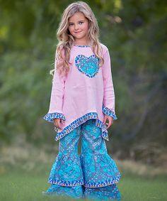 Look at this #zulilyfind! Pink & Blue Heart Tunic & Pants Set - Infant, Toddler & Girls #zulilyfinds