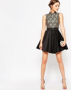 New Years Eve 2019 : Chi Chi London Petite High Neck Baroque Embrodiered Skater Dress New Years Eve Dresses, New Years Outfit, Sexy Dresses, Evening Dresses, Formal Dresses, Nye Dresses, Club Dresses, Night Outfits, Dress Outfits