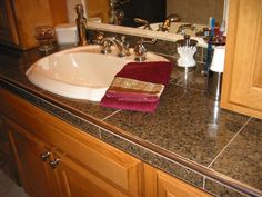 Countertop Tile Ideas : Brown Granite Tile Countertop