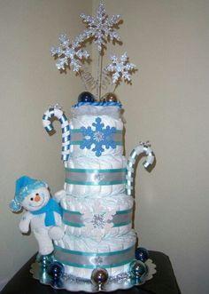 Naplescraftycakes.com #snowman cake #holiday diaper cakes