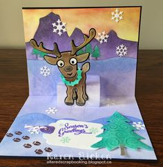 Karen Aicken using the Pop it Ups Lots of Pops, Western Edges, Outdoor Edges, Rudy the Reindeer, Evergreen Pivot Card, Merry & Bright Clear stamps and more by Karen Burniston for Elizabeth Craft Designs. - Hello Rudy Christmas Card