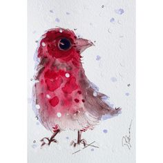 Red Finch in the Snow, Original Watercolor Print, Christmas Decor,... ($22) ❤ liked on Polyvore featuring home, home decor, wall art, bird wall art, bird home decor, red home accessories, red wall art and red home decor