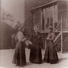 """""""Mrs. Macdonald, Diana and Lily,"""" Preston Manor, c. 1890. Mrs Macdonald and her twin daughters Diana and Lily who lived at Preston Manor. Mrs Macdonald was the mother of Ellen Stanford and Diana and Lily were Ellen's twin half-sisters."""