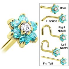 Solid 14KT Yellow Gold Mint Green and Clear Cubic Zirconia Flower Nose Ring #piercing #bodycandy #nosering
