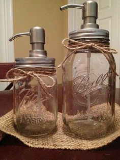 Shabby Chic Mason Jar Soap Dispenser Set by LucyLocketDesigns - Amazing Diy Crafts Mason Jar Soap Dispenser, Soap Dispensers, Mason Jars, Bottles And Jars, Canning Jars, Mason Jar Projects, Mason Jar Crafts, Home Crafts, Diy Crafts
