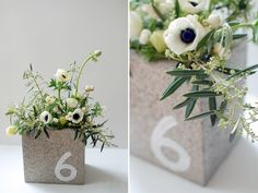 I like the idea of using cinder blocks as arrangement holder.  need to find small blocks so as not to dwarf flowers