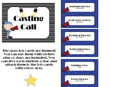I love these job cards for a Hollywood theme classroom!