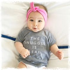 The Snuggle is Real grey t-shirt for your little boy or girl.