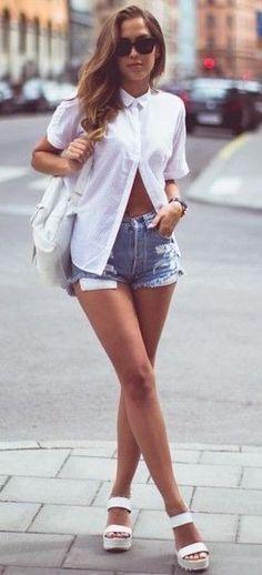 #summer #kenzas #outfits |  White + Denim