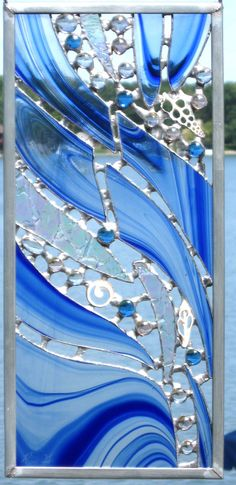 Abstract beachy stained glass panel
