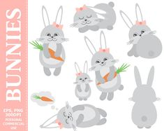 #Digital Bunnies Clip Art - Rabbits, #Carrot, Cartoon, Pastel, Baby, #Hare Clip Art. Commercial and Personal use - Instant download graphics   This listing contains 1 EPS vect... #thecreativemill #clipart #vector #bunny #rabbit #easter