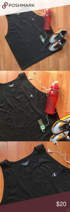 vintage • basic black workout tank top {champion} • black loose fitting Champion men's workout tank top •|| size large  •|| great vintage condition ;; no holes, stains, or real fading •|| great for working out, extremely comfortable and lightweight  ----- . #champion #workout #fitness #vtg #vintagetshirt #vintagetee #retro #vintagefinds #shopmycloset #depopshop #depopfamous Champion Shirts Tank Tops