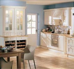 White Kitchen Cabinet With Round Knobs And Grey Dining Chairs With Wood Dining Table Plus Mosaic Backspalsh Ideas