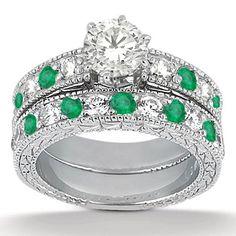 Antique Diamond and Emerald Engagement Ring and Wedding Band Vintage Palladium