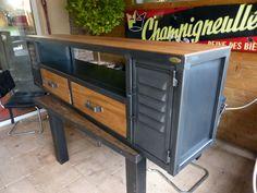 fabrication sur mesure meuble Tv industriel bois métal (3)