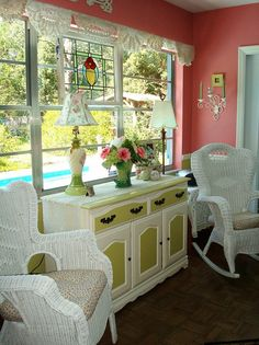 great colors and cottage accessories in this room - love the valance made from doilies: by turtlepatrol on Flickr