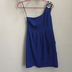 Royal blue formal homecoming dress rhinestones Cute mini dress formal cobalt blue with one sleeve decorated with rhinestones Forever 21 Dresses