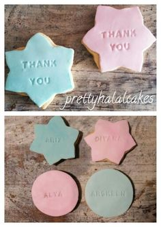 Customised cookies for party favors.
