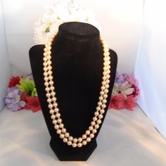 SALE 15% off  Art Deco Double Strand Ivory Glass Faux Pearl and Pave Rhinestone Clasp which can be worn in front, back or side. The Length is 22 inches. Free Ship to US. CCCsVintageJewelry.com