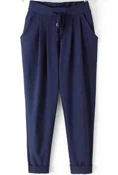 Navy Elastic Drawstring Waist Pockets Pant 14.33
