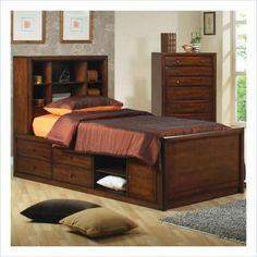 400280F Hillary and Scottsdale Bookcase Full Chest Bed in Warm by Coaster Home Furnishings. $835.01. Chest Bed. Bevelled Wood Fronts. Full Size Bed. Walnut Finish. Some Assembly Required. This lovely contemporary bookcase bed will be a nice addition to the youth bedroom in your home This stylish bed has lots of storage space with a high bookcase headboard featuring six open shelves that are ideal for books and decorative items The und...