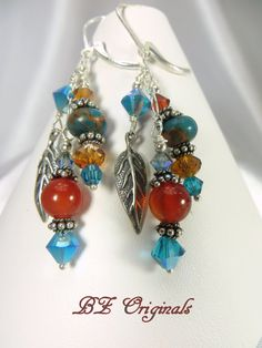 Carnelian and Turquoise Jasper Earrings with all by BZOriginals, $27.95