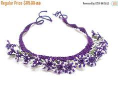 ON SALE Needle Crochet Lace Necklace Choker Lace Bib Purple