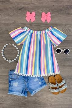 Rainbow Stripe Sunkissed Top - Blue - Sparkle In Pink Cute Baby Girl Outfits, Girls Summer Outfits, Cute Outfits For Kids, Toddler Girl Outfits, Cute Baby Clothes, Baby Girl Dresses, Toddler Fashion, Kids Fashion, Toddler Girls Clothes