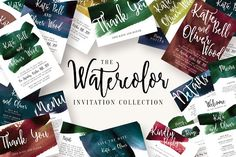 Watercolor Invitation Collection by Knotted Design on @creativemarket